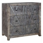 Bengal Manor Mango Wood 3 Drawer Chest with Metal Strip Detail