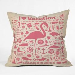 Flamingos on Vacation Throw Pillow