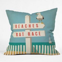 Seagull on Rush Hour Sign Throw Pillow