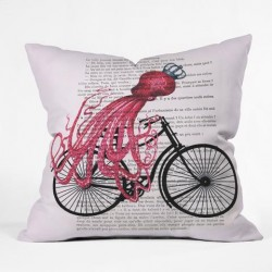 Octopus on a Bicycle Throw Pillow