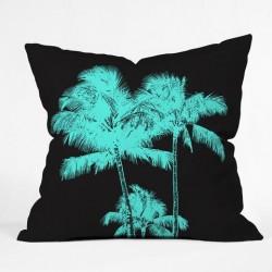 Deb Haugen's Turquoise Palms - Throw Pillow
