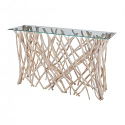 Teak Root Console with Glass Top