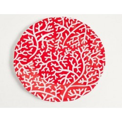 """Yacht and Home Melamine 9"""" Salad/Dessert Plate - Red Coral"""
