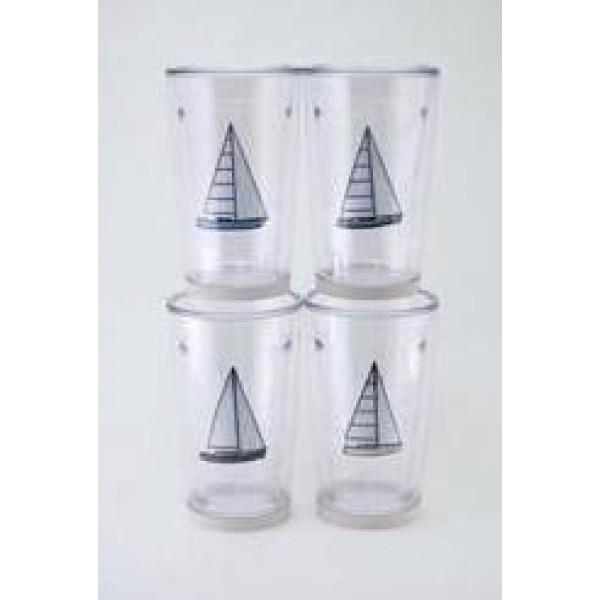Newport Tumbler 12 oz. Polycarbonate Non-skid Four Pack - Sailboat