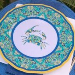 """Yacht and Home Melamine 11"""" Dinner Plate - Paisley Crab"""
