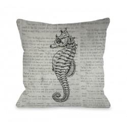 Vintage Seahorse Throw Pillow