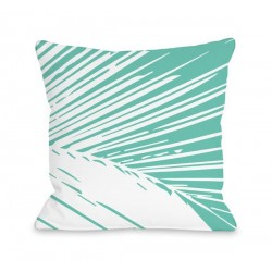 Alaiya Palm Leaves - Turquoise Throw Pillow