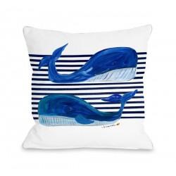 Whale Buddies - White Throw Pillow